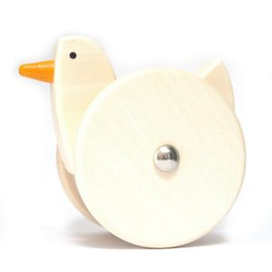 bajo wooden wobbling chicken toy natural