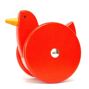 bajo wooden wobbling chicken toy red