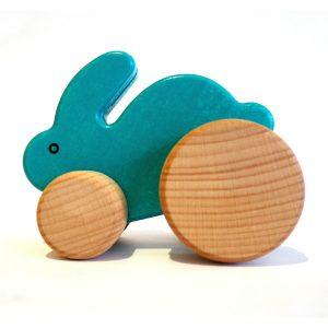 bajo blue wooden push along rabbit toyville bristol