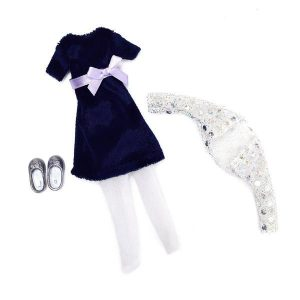 Blue Velvet Lottie Doll Clothes Outfit Set Accessories