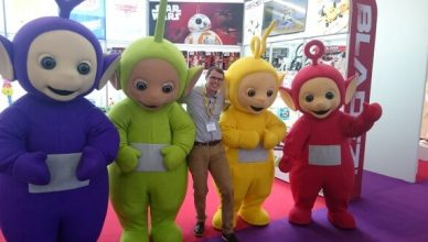 Joel with the Teletubbies at the 2016 London Toy Fair