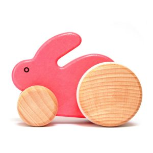 bajo small pink wooden rabbit toy