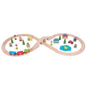bigjigs figure of eight wooden railway train set