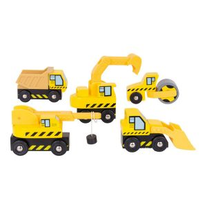 bigjigs wooden construction vehicles train track
