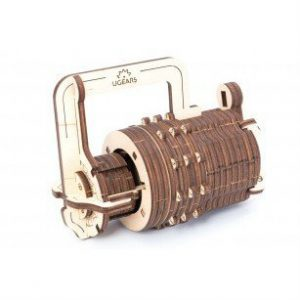ugears combination lock wooden model construction