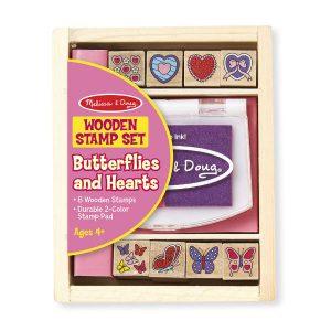 melissa doug wooden butterflies hearts stamps